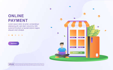 Illustration concept of online payment by credit card.
