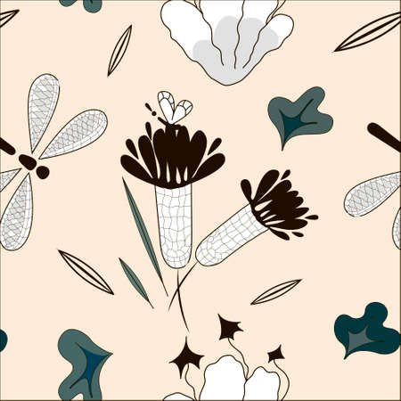 Delicate pattern with floral matte. Stylized flowers, dragonfly, leaves.
