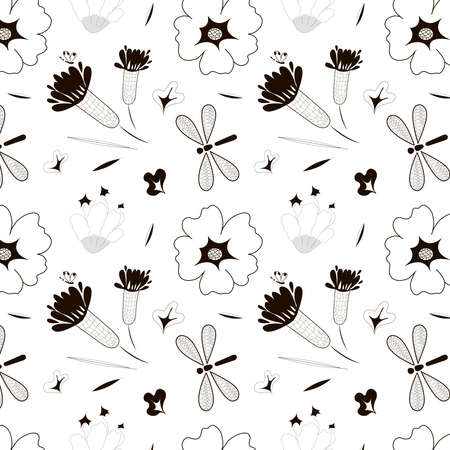 Cute black and white pattern with a floral motif. 向量圖像