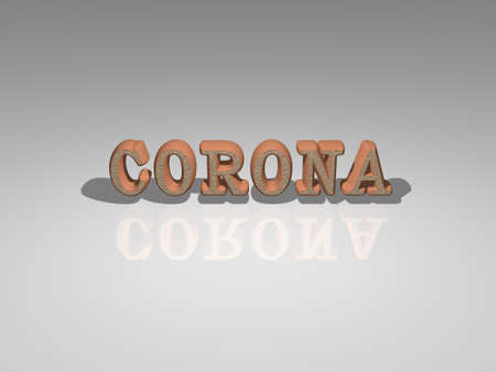 3D illustration of Corona text with light perspective and shadows, an image ideal for both commercial and editorial use 스톡 콘텐츠