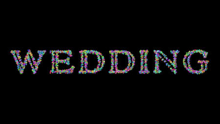 wedding: 3D illustration of the text made of small objects over a black background with shadows