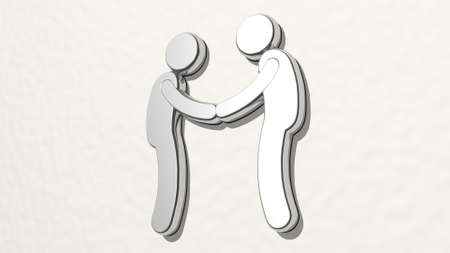 shaking hands on the wall. 3D illustration of metallic sculpture over a white background with mild texture