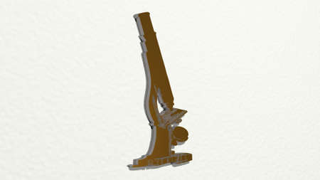 lab microscope made by 3D illustration of a shiny metallic sculpture on a wall with light background