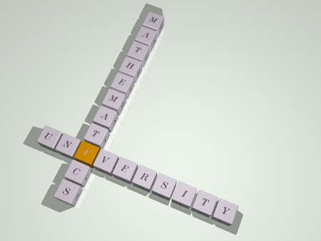 crosswords of university mathematics arranged by cubic letters on a mirror floor, concept meaning and presentation
