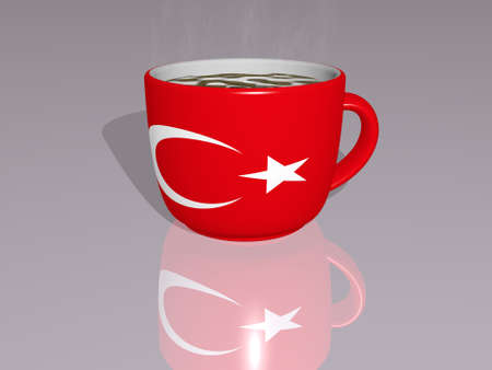 TURKEY placed on a cup of hot coffee mirrored on the floor in a 3D illustration with realistic perspective and shadows