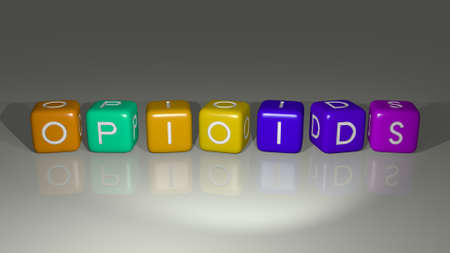 OPIOIDS combined by dice letters and color crossing for the related meanings of the concept
