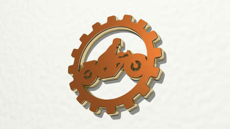 motorbike in industrial cog on the wall. 3D illustration of metallic sculpture over a white background with mild texture