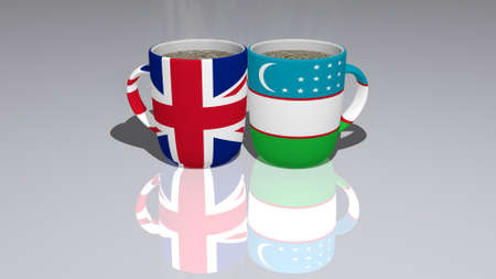 United Kingdom And Uzbekistan: relationship or conflict on a pair of coffee cups for editorial and commercial use Reklamní fotografie