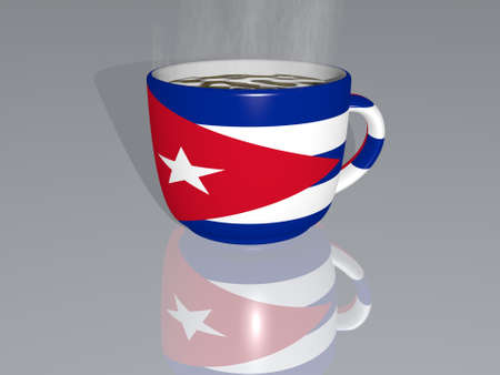 Cuba placed on a cup of hot coffee mirrored on the floor in a 3D illustration with realistic perspective and shadows 写真素材