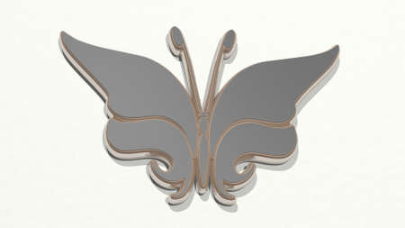 butterfly from a perspective on the wall. A thick sculpture made of metallic materials of 3D rendering