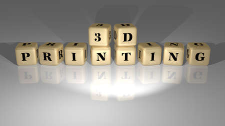 D printing made by golden dice letters and color crossing for the related meanings of the concept Banque d'images