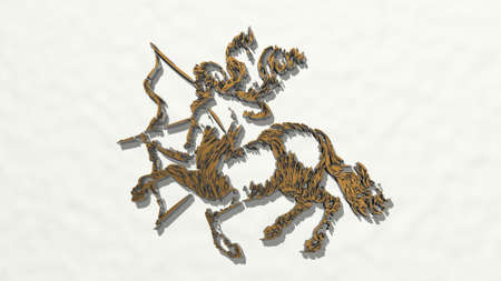 drawing o centaur horse with human head on the wall. 3D illustration of metallic sculpture over a white background with mild