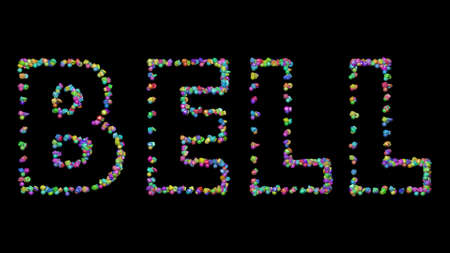 Colorful 3D writting of BELL text with small objects over a dark background and matching shadow
