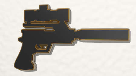 gun with pointer from a perspective on the wall. A thick sculpture made of metallic materials of 3D rendering
