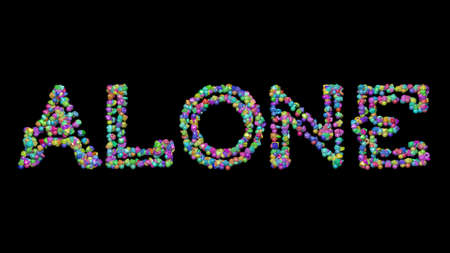 Colorful 3D writting of ALONE text with small objects over a dark background and matching shadow