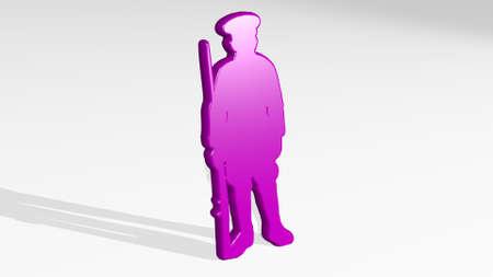 MILITARY OFFICER WITH GUN on the wall. 3D illustration of metallic sculpture over a white background with mild texture