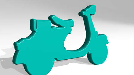 MOTORBIKE SCOOTER made by 3D illustration of a shiny metallic sculpture on a wall with light background. active and design