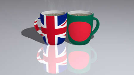 UNITED KINGDOM AND BANGLADESH placed on a cup of hot coffee in a 3D illustration with realistic perspective and shadows mirrored on the floor 版權商用圖片