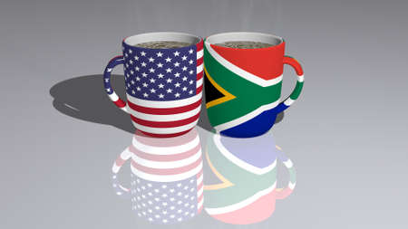 United States Of America And South Africa placed on a cup of hot coffee mirrored on the floor in a 3D illustration with realistic perspective and shadows