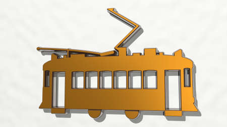 tram public transport made by 3D illustration of a shiny metallic sculpture on a wall with light background. architecture and car