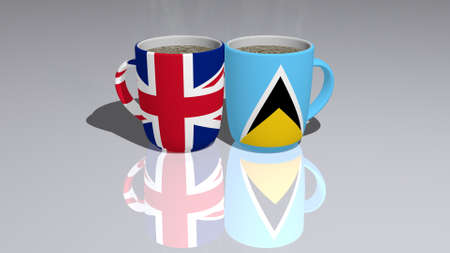 Relationship of United Kingdom And Saint Lucia presented by their national flags on cups of tea or coffee as editorial or commercial picture