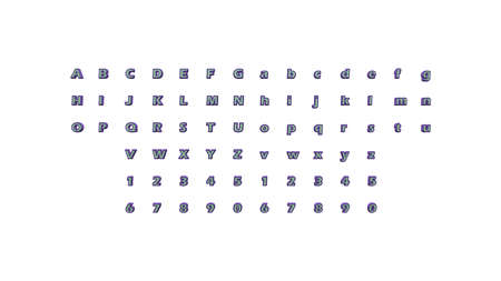 Full set of English alphabets in 3D illustrations which matching perspectives and lighting on each side placed on a white background for word combinations Banco de Imagens