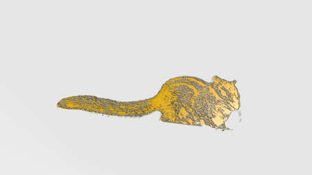CAT-LIKE SQUIRREL made by 3D illustration of a shiny metallic sculpture on a wall with light background. animal and cute