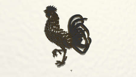rooster from a perspective on the wall. A thick sculpture made of metallic materials of 3D rendering. illustration and chicken