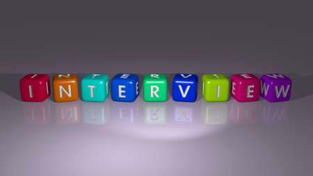 INTERVIEW combined by dice letters and color crossing for the related meanings of the concept. business and job