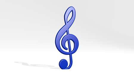 MUSICAL NOTE made by 3D illustration of a shiny metallic sculpture on a wall with light background. instrument and icon