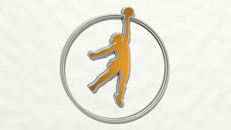 basketball girl on the wall. 3D illustration of metallic sculpture over a white background with mild texture. competition and sport Foto de archivo