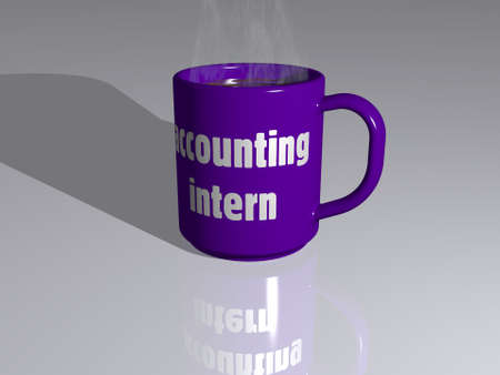 Colorful 3D illustration of a coffee mug with ACCOUNTING INTERN written on it placed on a reflecting floor with a simple background, excellent picture for editorial and commercial use. business and concept Banco de Imagens