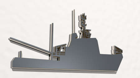WAR SHIP made by 3D illustration of a shiny metallic sculpture on a wall with light background. army and world