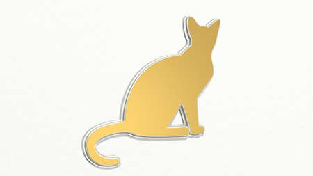 cat on the wall. 3D illustration of metallic sculpture over a white background with mild texture. animal and cute