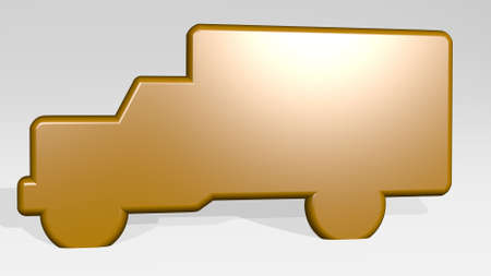 truck on the wall. 3D illustration of metallic sculpture over a white background with mild texture. car and cargo