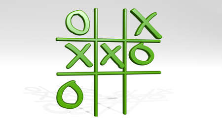 X O GAME on the wall. 3D illustration of metallic sculpture over a white background with mild texture. letter and design