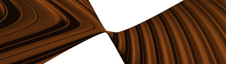 Ultra wide 3D abstract background of curved geometrical patterns of chocolate color with lighting and shadows for various applications needing colorful environment. illustration and cake