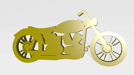 MOTORCYCLE made by 3D illustration of a shiny metallic sculpture on a wall with light background. bike and biker