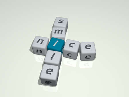 NICE SMILE combined by dice letters and color crossing for the related meanings of the concept. background and beautiful
