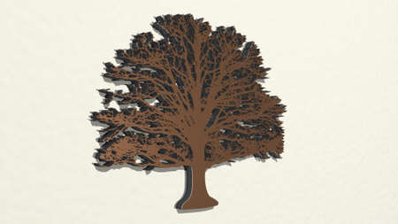 WIDE TREE from a perspective on the wall. A thick sculpture made of metallic materials of 3D rendering. background and illustration