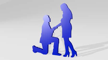 MEN PROPOSING TO WOMAN FOR MARRIAGE from a perspective with the shadow. A thick sculpture made of metallic materials of 3D rendering. couple and illustration
