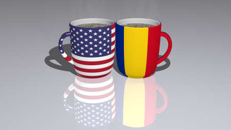 UNITED-STATES-OF-AMERICA ROMANIA: relationship or conflict on a pair of coffee cups for editorial and commercial use