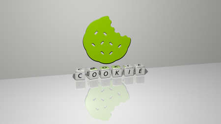 3D representation of COOKIE with icon on the wall and text arranged by metallic cubic letters on a mirror floor for concept meaning and slideshow presentation. background and cake