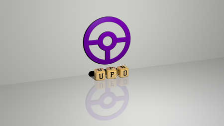 3D representation of ufo with icon on the wall and text arranged by metallic cubic letters on a mirror floor for concept meaning and slideshow presentation. illustration and alien