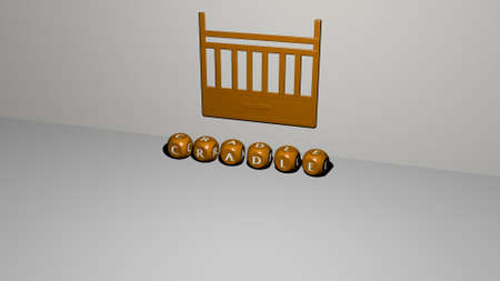 3D illustration of CRADLE graphics and text made by metallic dice letters for the related meanings of the concept and presentations. baby and child
