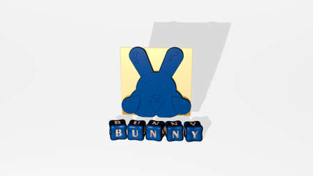 3D representation of bunny with icon on the wall and text arranged by metallic cubic letters on a mirror floor for concept meaning and slideshow presentation. easter and illustration 免版税图像