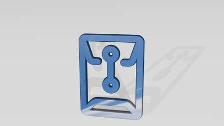 OFFICE FOLDER SEALED made by 3D illustration of a shiny metallic sculpture casting shadow on light background. business and businessman