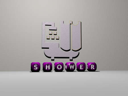 3D representation of SHOWER with icon on the wall and text arranged by metallic cubic letters on a mirror floor for concept meaning and slideshow presentation. illustration and baby Stok Fotoğraf