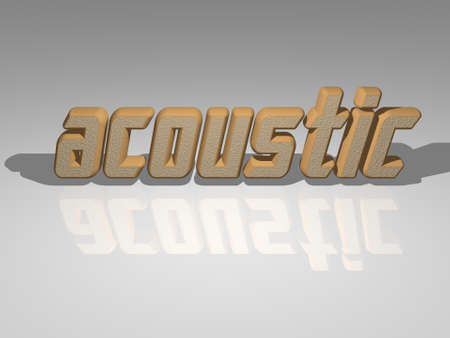 ACOUSTIC 3D text illustrated with light perspective and shades, a picture ideal for rich graphical context. guitar and background 免版税图像
