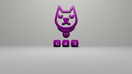 3D graphical image of cat vertically along with text built by metallic cubic letters from the top perspective, excellent for the concept presentation and slideshows. animal and illustration